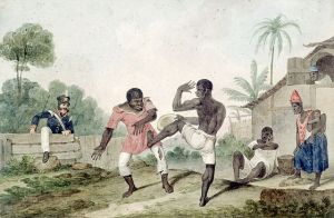 Negros fighting using Capoeira steps by Augustus Earle, Wikipedia.